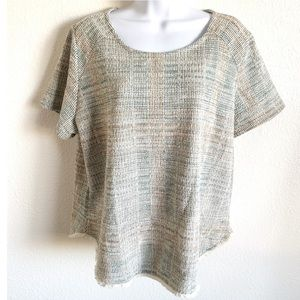 Anthro W5 | tweed fringe hem short sleeve top